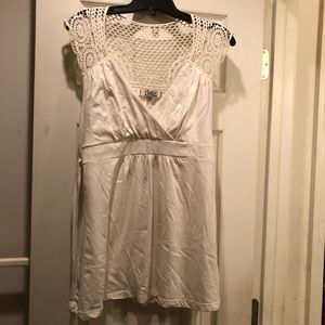 Off white babydoll top with belt junior's XL